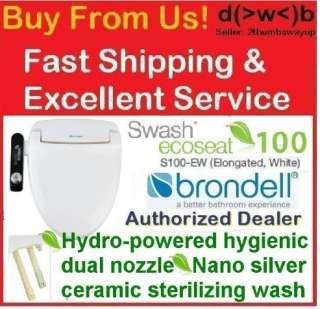 Brondell Swash Ecoseat 100 Bidet Toilet Seat *Elongated *S100 EW