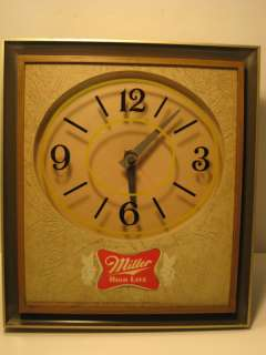 1975 MILLER HIGH LIFE BEER LOGO LIGHTED CLOCK SIGN !