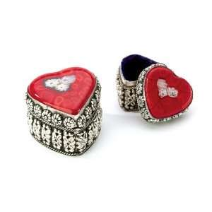 Fair Trade Silver / Red Heart Jewelry Box (LARGE)
