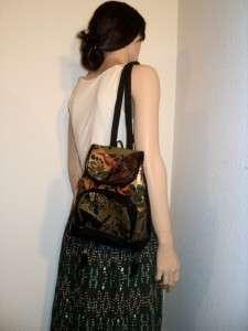 vtg ETHNIC Tooled FAUX Leather Mini Backpack Purse Vegan Shoulder Bag