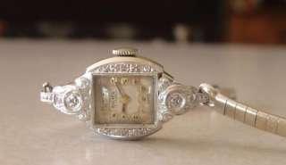 Acme Solid 14k White Gold & Diamond Ladies Wristwatch