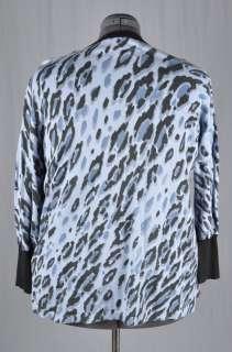 BOB MACKIE Wearable Art Purple & Black Animal Print Cardigan Sweater