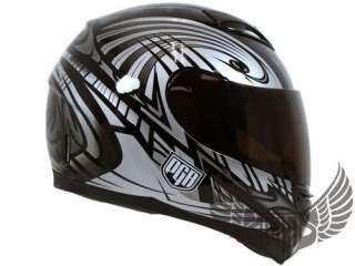 Dual Visor Motorcycle DOT Helmet Grey Black S Small