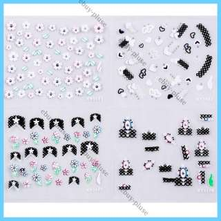 30 Sheets 3D Colorful Decal Stickers Nail Art Manicure Tips DIY