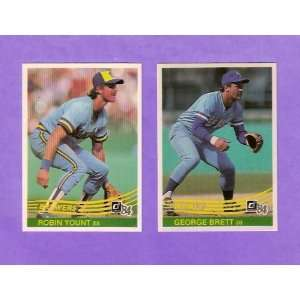 1984 Donruss (2) Card Baseball Lot (George Brett) (Robin Yount