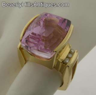 Superb Designer Large Kunzite Diamonds 14k Yellow Gold Ring