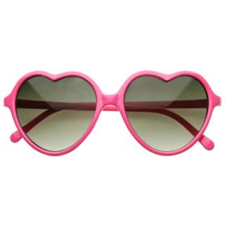Oversized Thin Frame Lovely Heart Shaped Womens Fashion Sunglasses