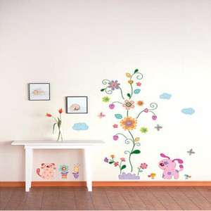FLOWER & PUPPY Adhesive Removable Home Wall Decor Accents Stickers