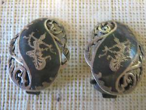 SIAM STERLING NIELLO EARRINGS CLIP ON AWESOME LQQK