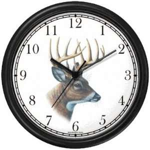 Deer Buck Head   JP Animal Wall Clock by WatchBuddy Timepieces (Slate