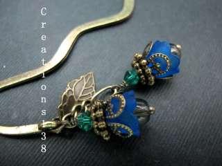 Blue Lucite Flower Glass Beaded Metal Bookmark Christmas Gift