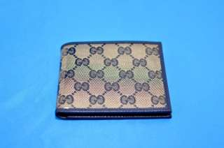 300 GUCCI Mens Navy Blue Bifold Crystal Coated Canvas/Leather Large
