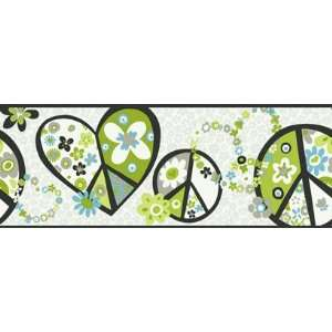 Peace Sign Green and Black Wallpaper Border in Girl Power