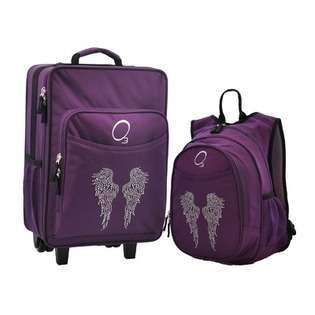 O3 Kids Luggage and Backpack Set with Bling Rhinestone Angel Wings at