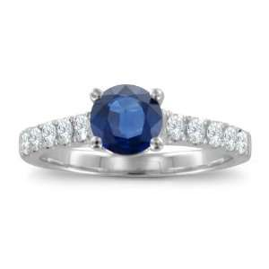 Natural Sapphire Pave Diamond Engagement Ring 14k White Gold Band (G