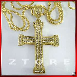 Mens CZ Cross Pendant Necklace★ICED★GOLD★BLING★PDC59#Z2