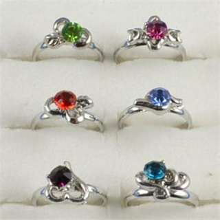 Lot 40pcs White Gold Plated Cute Kid s Party Crystal Adjustable Rings