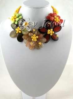 Carnelian pearl turquoise flower necklace/earring VJ