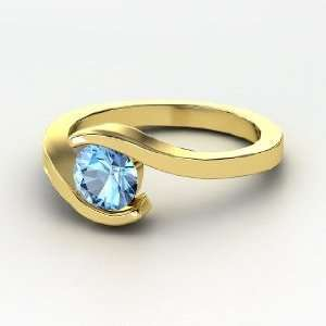 Ocean Ring, Round Blue Topaz 14K Yellow Gold Ring Jewelry