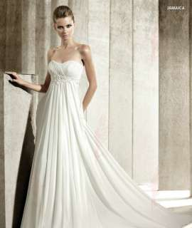 Customized White/Ivory Strapless Chiffon fold Beaded Wedding Dresses