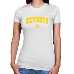 Military Institute Keydets Ladies White Logo Arch Slim Fit T shirt