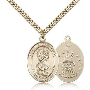 Gold Filled St. Saint Christopher / Air Forc Medal Pendant