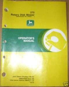 John Deere 270 Rotary Disk Mower Operators Manual