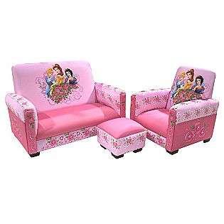 Disney Princess Jeweled Gardens Toddler Sofa, Chair and Ottoman Set
