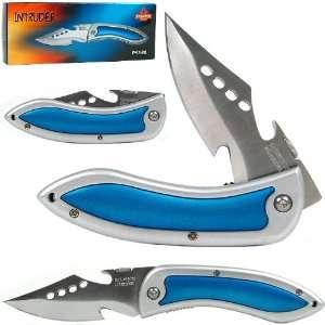 Quality WhetstoneT 7.75 Inch Open Blue Intruder Style Folder w/ Belt