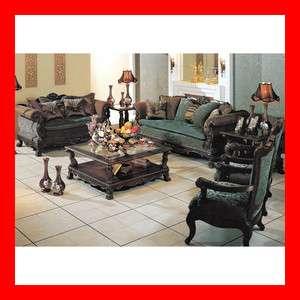 Solid Wood Fabric Sofa Loveseat 2 Pc Living Room Set Furniture
