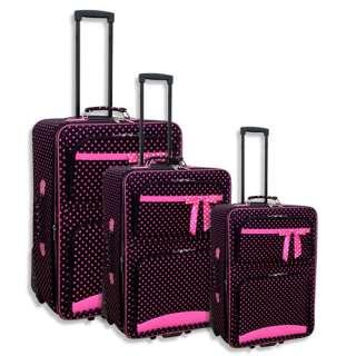 NEW Black Pink Polka Dot 3 Piece Rolling Luggage Set Suitcase