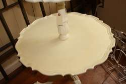Antique Painted White 2 Tier Pie Crust Solid Wood Table Night Stand