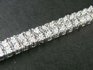 MENS 2 ROW GENUINE DIAMOND WHITE GOLD FINISH BRACELET 8 INCH