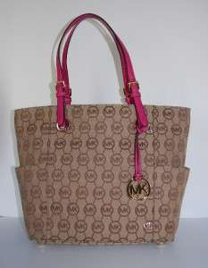 NEW NWT Auth MICHAEL KORS Jet Set Item EW Signature Tote Monogram
