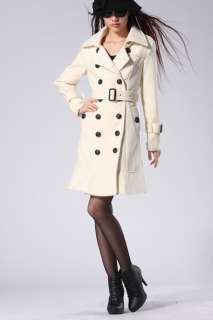 White Lapel Neck Long Sleeve Double Breasted New Fashion Outerwear