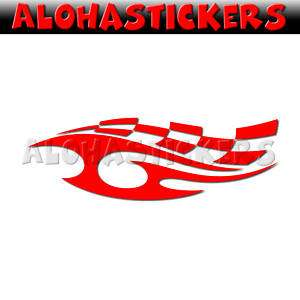 CHECKER FLAG TRIBAL RACE FLAME Vinyl Decal Sticker FL33