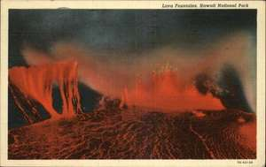 HAWAII NATIONAL PARK Lava Fountains Volcano Old Postcard
