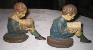 CAST IRON SCHOOL CHURCH CHOIR BOY MUSIC ART BOOK ENDS PRAYER