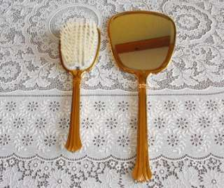 VTG Gold Tone Hair Brush Comb Mirror & Tray Hair Pin Box Vanity