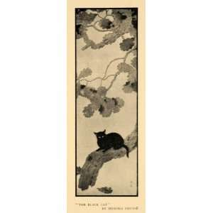 1911 Print Black Cat Tree Branches Leaves Shunso Art