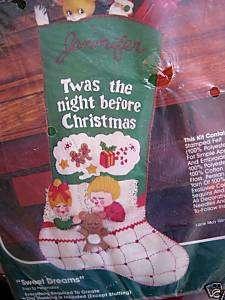 Bucilla FELT Christmas STOCKING KIT,SWEET DREAMS,Crewel