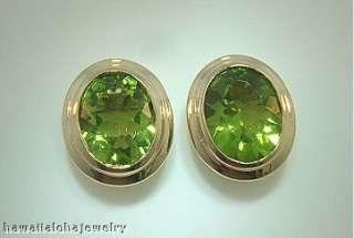14k Gold 3.14ct Oval Cut Peridot Designer Post Earrings