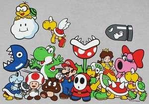 Nintendo SUPER MARIO CHARACTERS Funny Mens T Shirt XL