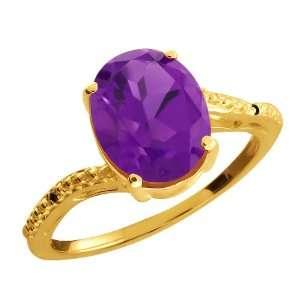 2.51 Ct Oval Purple Amethyst and Black Diamond 10k Yellow