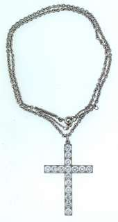 18K WHITE GOLD CHAIN NECKLACE PLATINUM DIAMOND CROSS PENDANT 3.20CTS