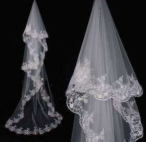 New White Wedding Bridal applique Mantilla Veil