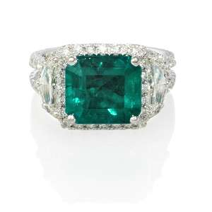 18K WHITE GOLD DIAMOND & EMERALD RING
