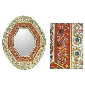 Painted glass mirror, White and Red