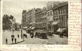 WORCESTER MA Trolley Street Scene c1910 Postcard