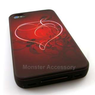 Red Hearts Candy Skin Gel TPU Case Cover For Apple iPhone 4S NEW